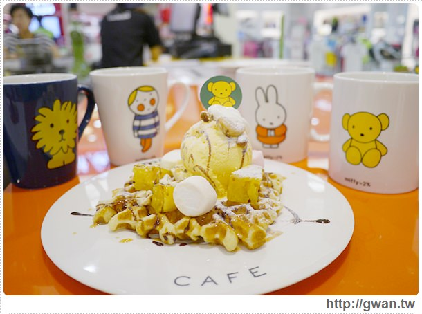 MiffyX2% CAFE-米飛兔-卡通主題餐廳-Miffy主題咖啡-親子餐廳-台北-板橋-中和環球-環球購物中心-Global Mall-Miffy 60歲-生日快樂-Miffy 60週年特展-比利時鬆餅-27-274-1