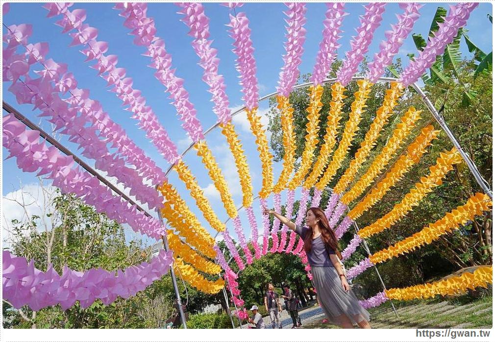 台中太平最新拍照景點 | 屯區藝文中心,上千隻風車隧道、彩色花串免費拍到飽
