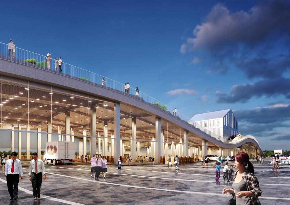 未來的新化果菜市場長這樣,預計2020年完工,山形梯田屋頂打造全新台南綠建築!!