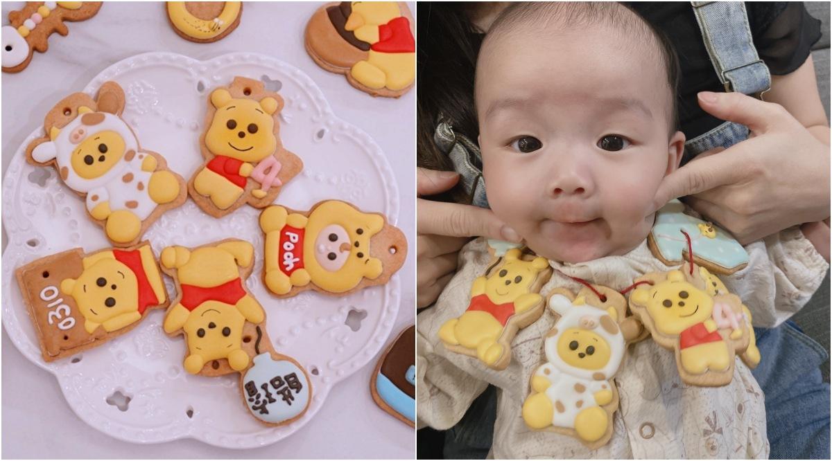 寶寶四個月收涎餅乾,手作維尼熊糖霜餅乾!